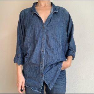 Helmut Lang batwing denim button down blouse